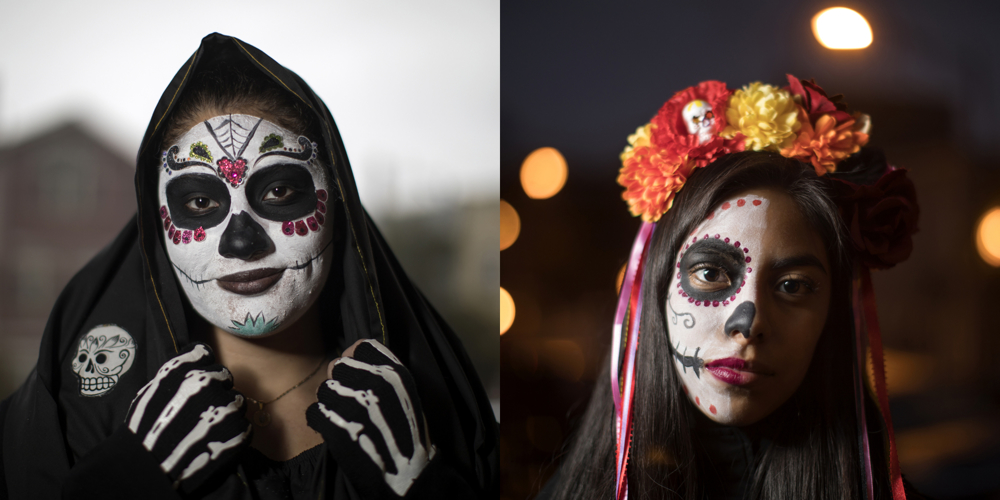 Maria Centeno, left, and Samantha Romero. Dia de los Muertos at Dvorak Park Thursday, Nov. 2, 2017, in the Pilsen neighborhood of Chicago.