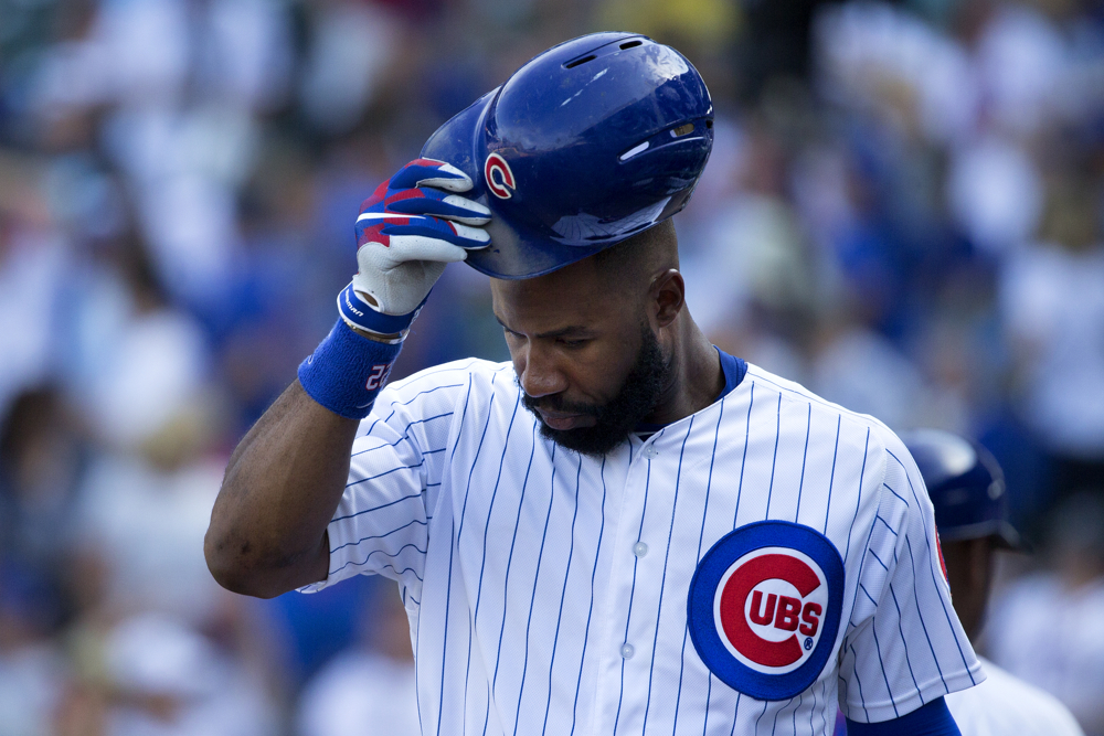 Chicago Cubs right fielder Jason Heyward (22) leaves the field after the Cubs' 5-1 loss to the Atlanta Braves Sunday, Sept. 3, 2017, at Wrigley Field in Chicago. (Erin Hooley/Chicago Tribune)
