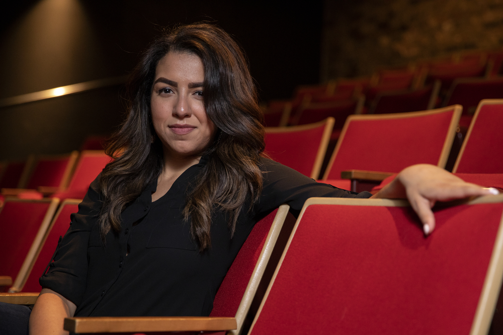 Desiree Gonzalez poses for a portrait at Theatre Wit Thursday, Aug. 16, 2018, in Chicago. Gonzalez, of Kokandy Productions, is one of the Chicago Tribune's Hot New Faces of Chicago Theater 2018. (Erin Hooley/Chicago Tribune)
