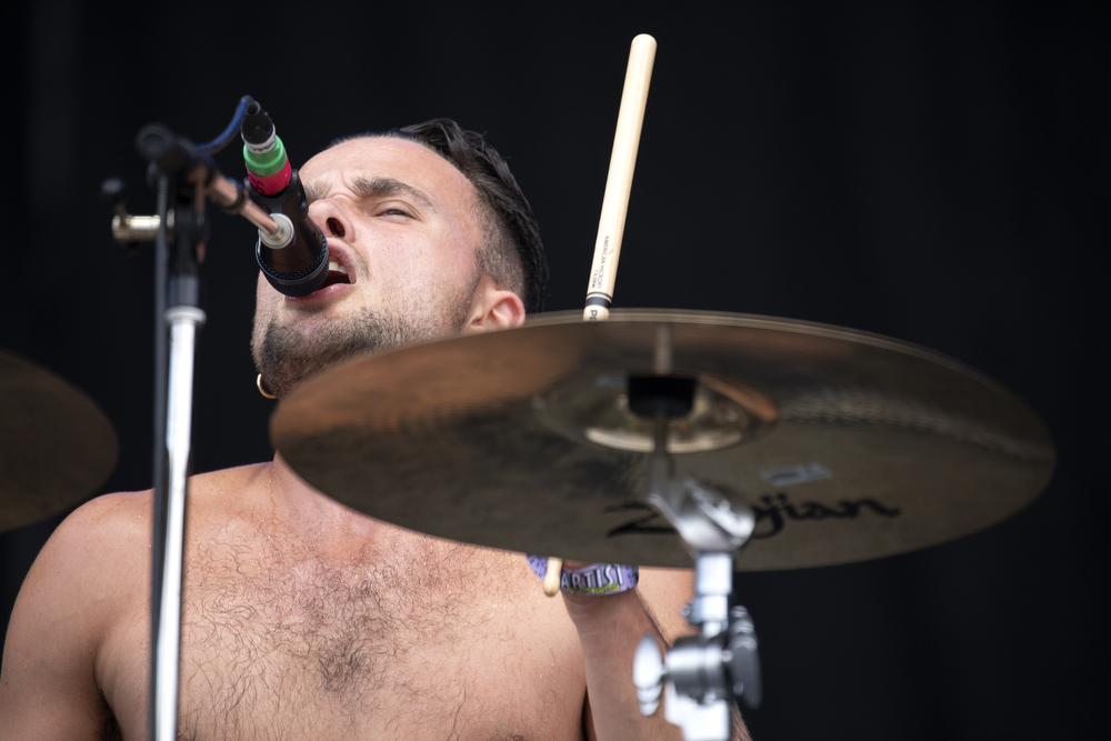 Isaac Holman performs with his English band Slaves at Lollapalooza Thursday, August 2, 2018, at Grant Park in Chicago. (Erin Hooley/Chicago Tribune)