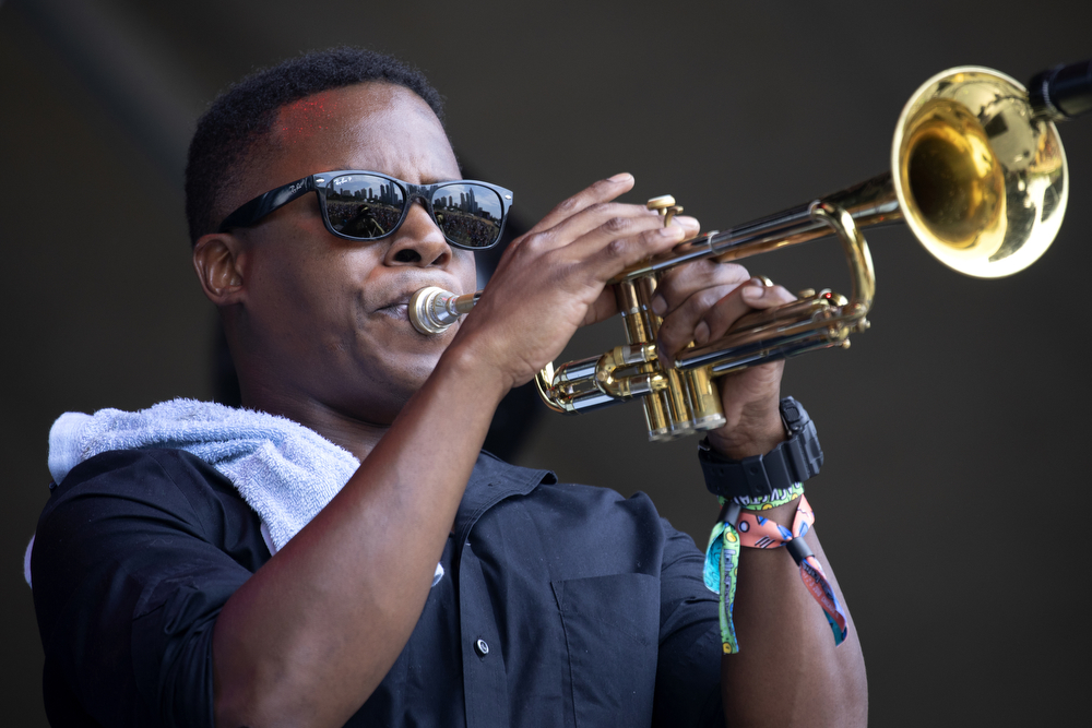 Durand Jones & The Indications performs at Lollapalooza Sunday, August 5, 2018, at Grant Park in Chicago. (Erin Hooley/Chicago Tribune)