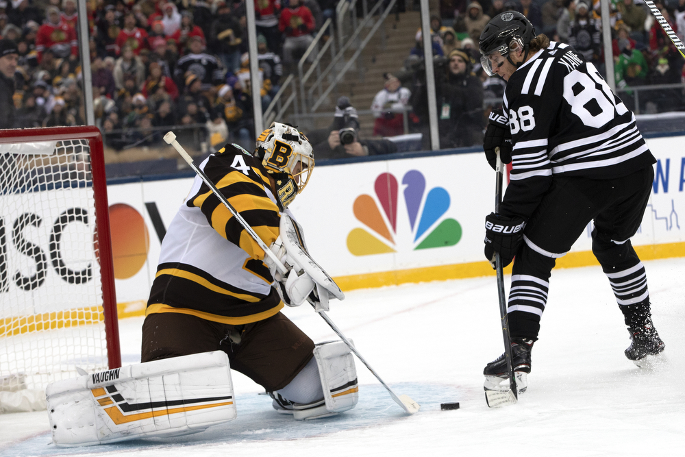 Chicago Blackhawks right wing Patrick Kane (88) tries for a breakaway goal during the first period of the Winter Classic outdoor hockey game between the Chicago Blackhawks and Boston Bruins Tuesday, Jan. 1, 2019, at Notre Dame Stadium in South Bend, Ind. (Erin Hooley/Chicago Tribune)