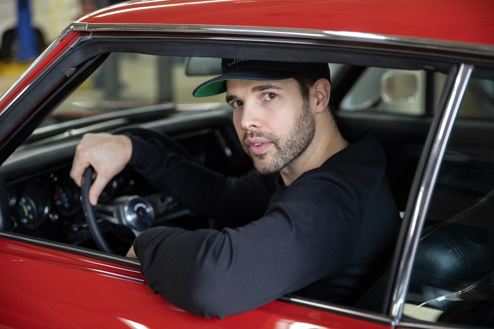 Chicago Blackhawks goaltender Corey Crawford sits in the 1970 Chevy Chevelle SS he restored with help from his friends at Nortown Auto LLC Monday, Nov. 19, 2018, in Chicago. He donated the car to the Chicago Blackhawks Foundation and fans can purchase raffle tickets at Blackhawks home games or online to enter the charity drawing for the car held February 18 2019. (Erin Hooley/Chicago Tribune)