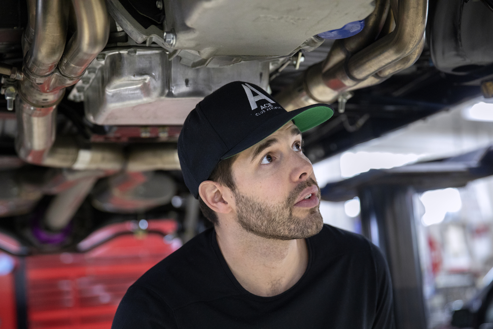 Chicago Blackhawks goaltender Corey Crawford talks about the 1970 Chevy Chevelle SS he restored with help from his friends at Nortown Auto LLC Monday, Nov. 19, 2018, in Chicago. He donated the car to the Chicago Blackhawks Foundation and fans can purchase raffle tickets at Blackhawks home games or online to enter the charity drawing for the car held February 18 2019. (Erin Hooley/Chicago Tribune)