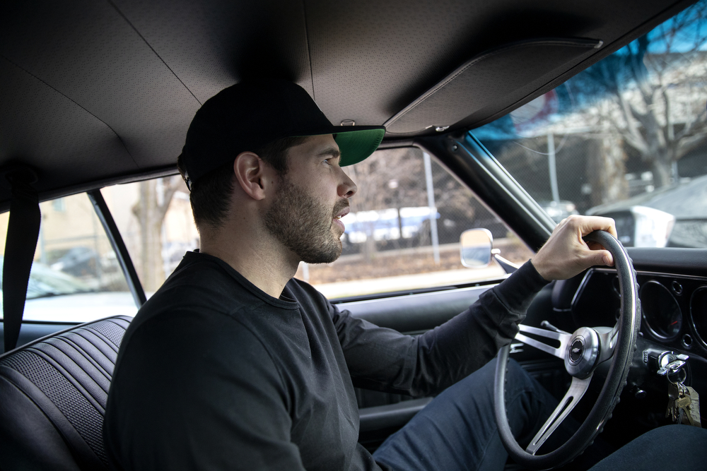Chicago Blackhawks goaltender Corey Crawford drives the 1970 Chevy Chevelle SS he restored with help from his friends at Nortown Auto LLC Monday, Nov. 19, 2018, in Chicago. He donated the car to the Chicago Blackhawks Foundation and fans can purchase raffle tickets at Blackhawks home games or online to enter the charity drawing for the car held February 18 2019. (Erin Hooley/Chicago Tribune)