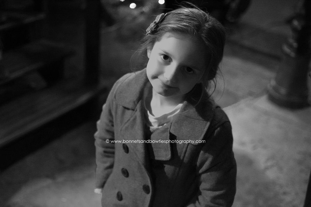 black and white of little girl