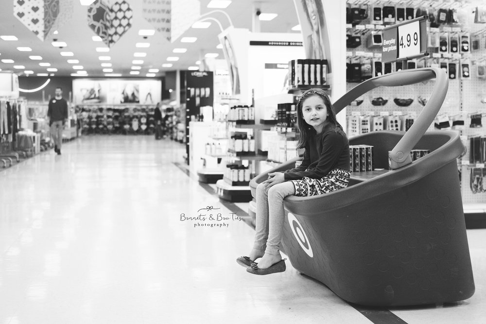 black and white photo of a girl in Target- York PA.jpg