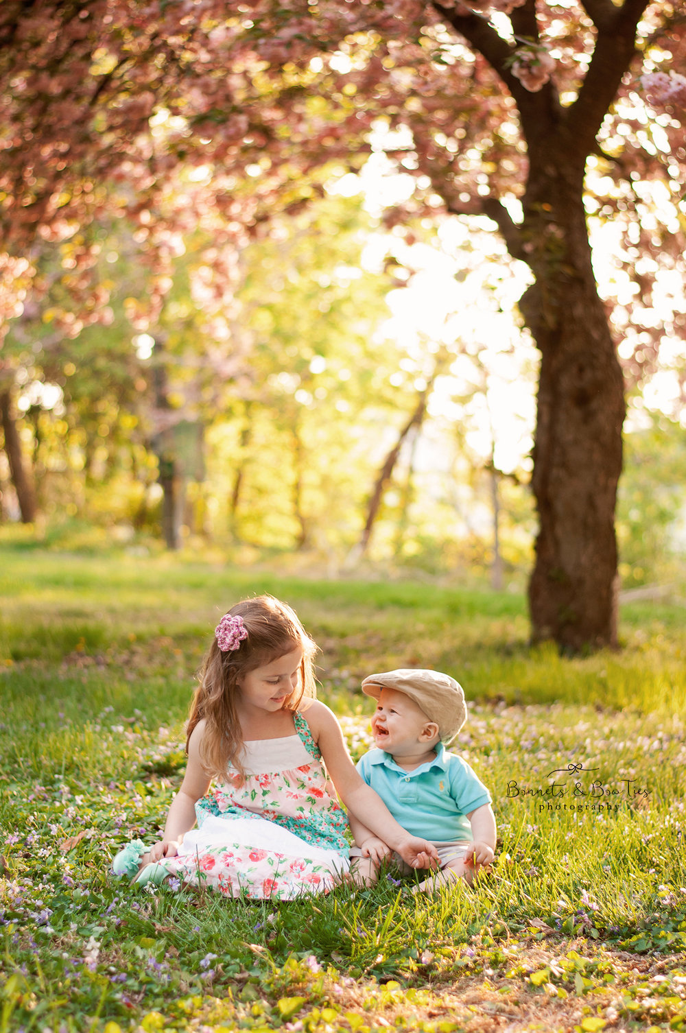 boy and girl session at blossom trees in york pa.jpg
