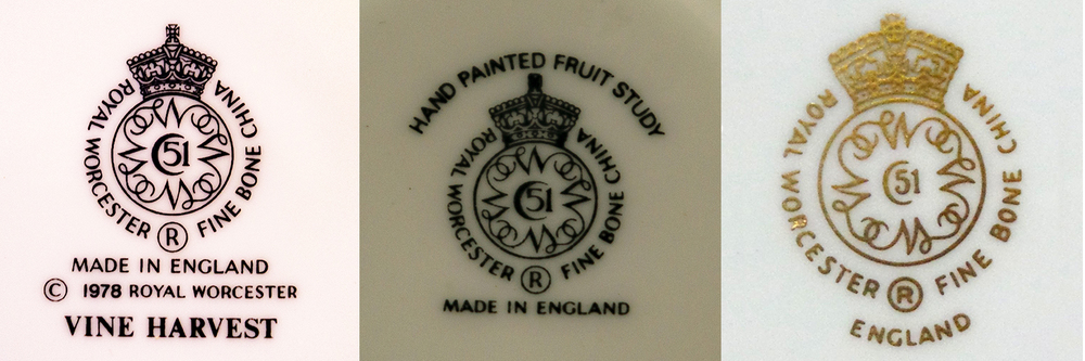 Three modern marks, one for a 'Vine Harvest' pattern piece introduced in 1978 and two decorative piece one in black and one gold with no indication of year of manufacture or introduction.