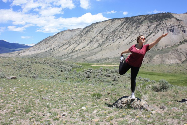 Lindsay doing yoga at Yellowstone.