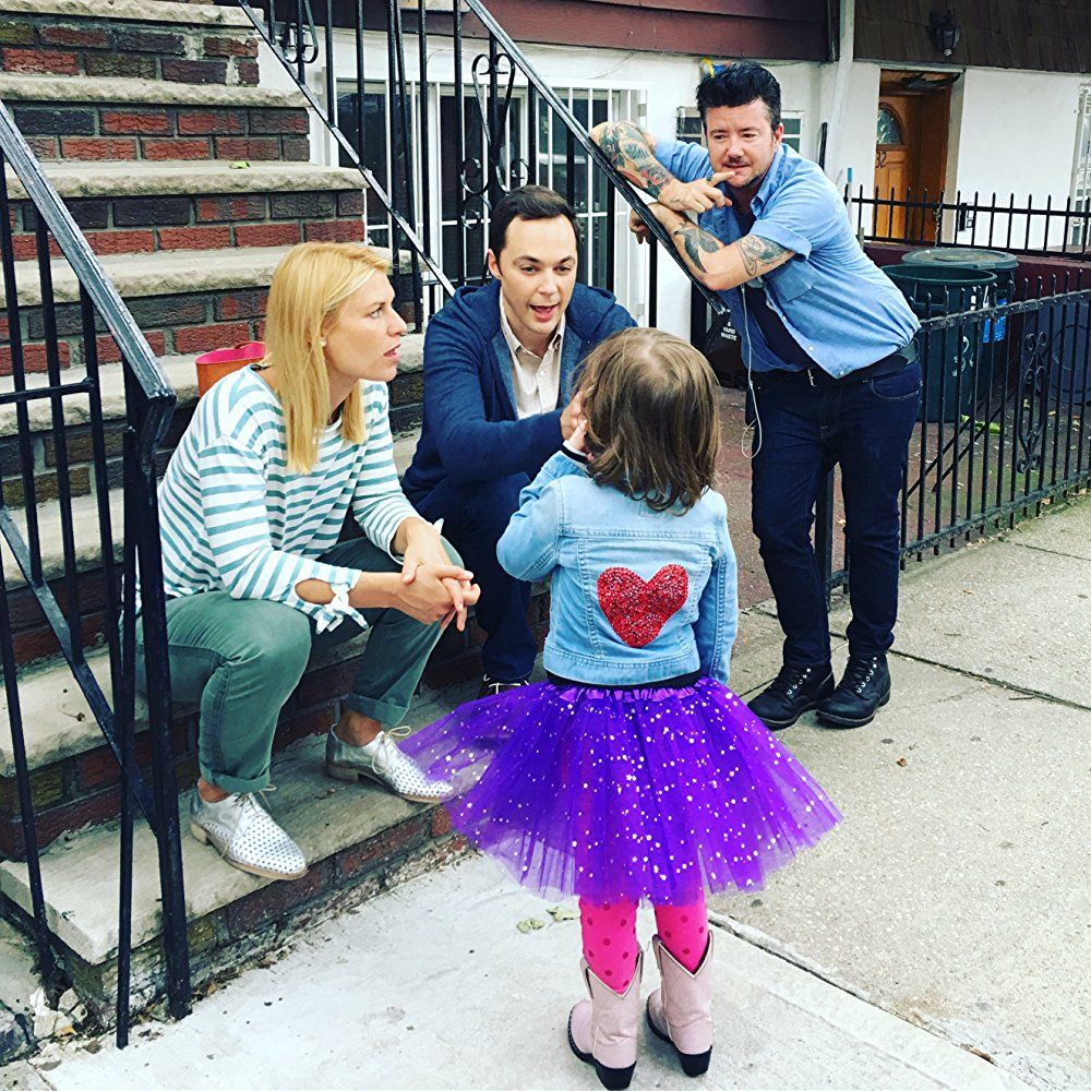 Claire Danes, Jim Parsons, Silas Howard and Leo James Davis on set of A Kid Like Jake.