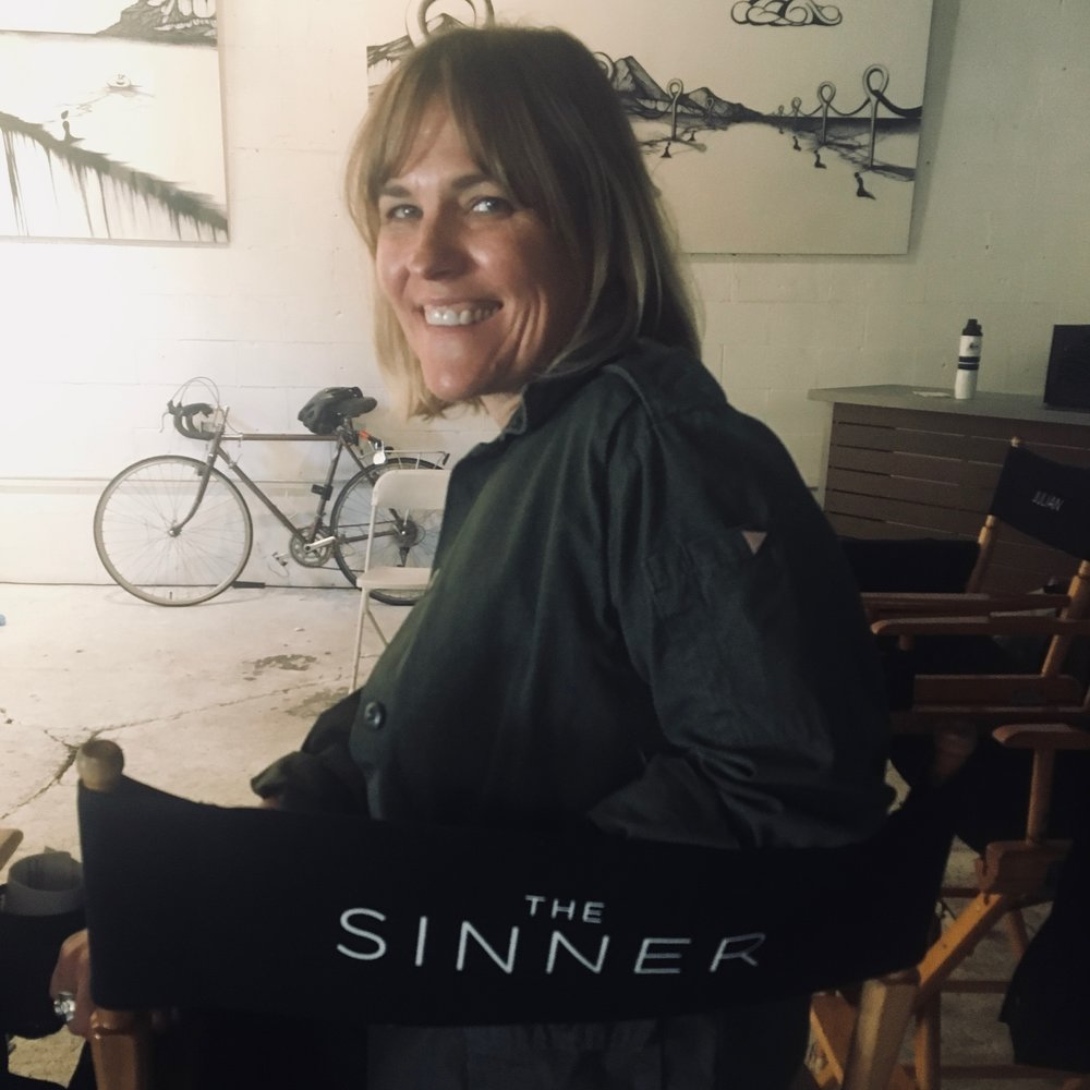 "Kelly McAndrew as Danielle Vaughn on the set of ""The Sinner"""