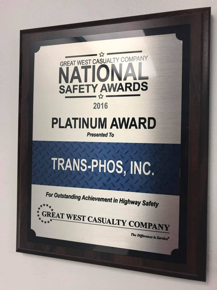 trans phos recognized with 2016 platinum national safety award