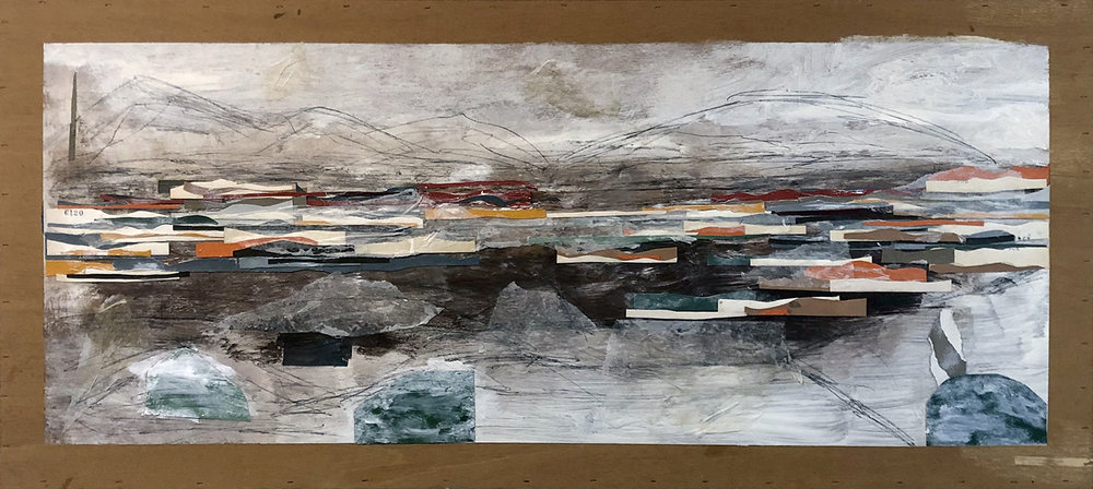 "PALM CANYON  20""X 45"" ACRYLIC, MIXED MEDIA ON CANVAS"