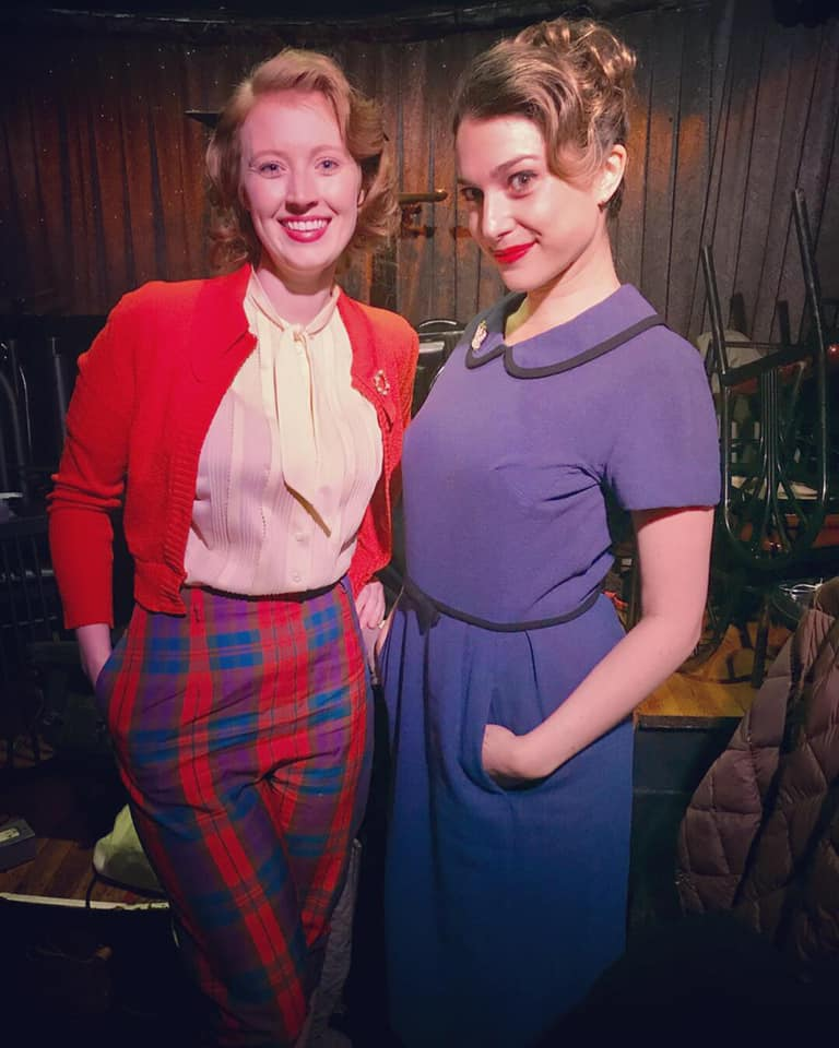 A behind the scenes pic of McKenna doing a pretape for SNL's Marvelous Mrs. Maisel parody.