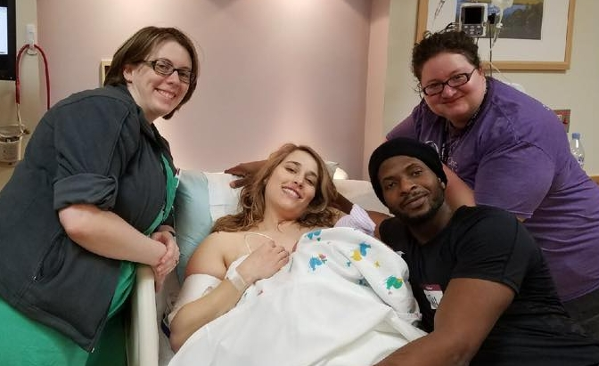 Jen attending Allison's birth of Ayodele