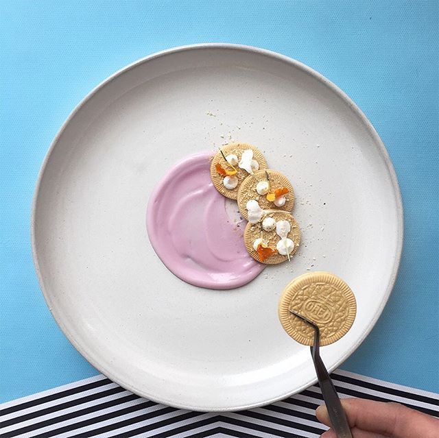 DO YOU EVEN PURPLE YOGURT BRO? TIGHT SPEC FT. PURPLE YOGURT IN A TUBE SQUEEZED IN A NICE WAY, SUNNY SIDE UP GOLDEN OREO THINS, VANILLA PUDDIN DOTS, TINY LEAFS AND MICRO PLANED OREO COOKIE DUST. #sponsored #soigné #theartofplating #fourmagazine