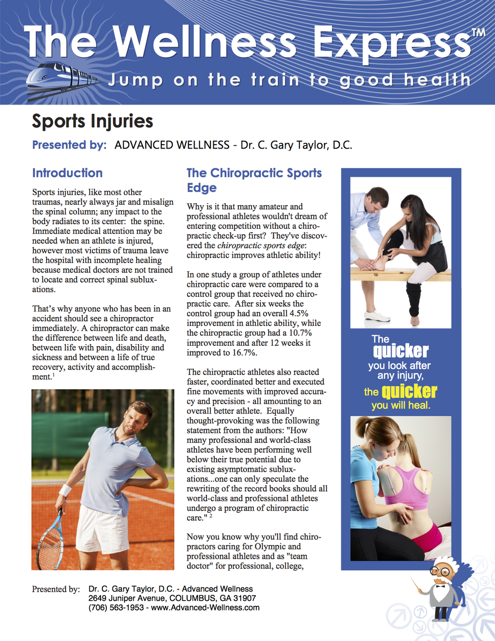 Sports Injuries Newsletter Advanced Wellness Dr. C. Gary Taylor