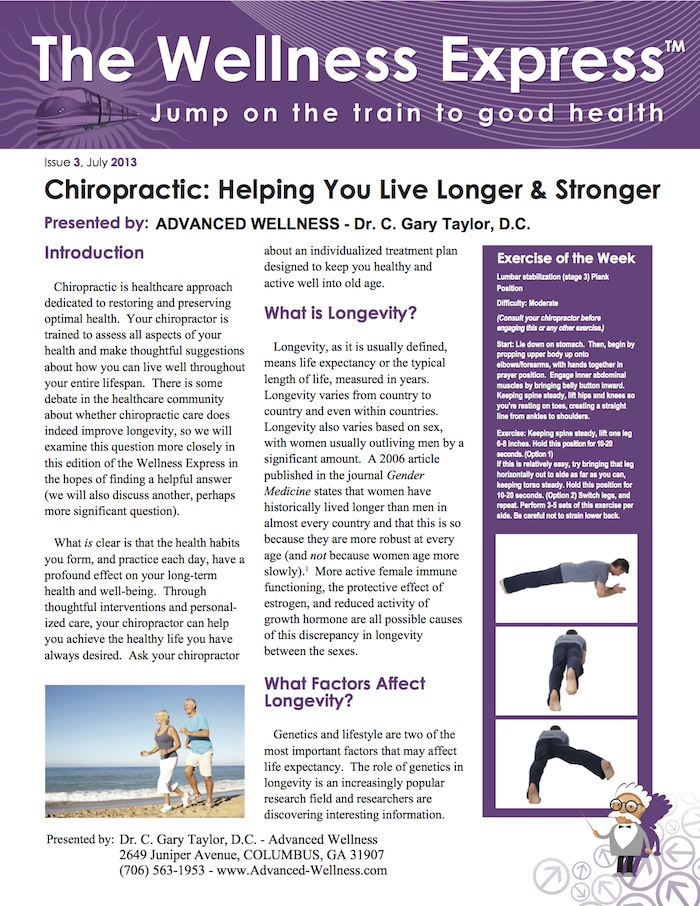 Weekly Newsletter, Chiropractic Adjustments/Spinal Manipulation, Aging, Life Extension, Healthy Lifestyle, What is Chiropractic?, columbus, georgia