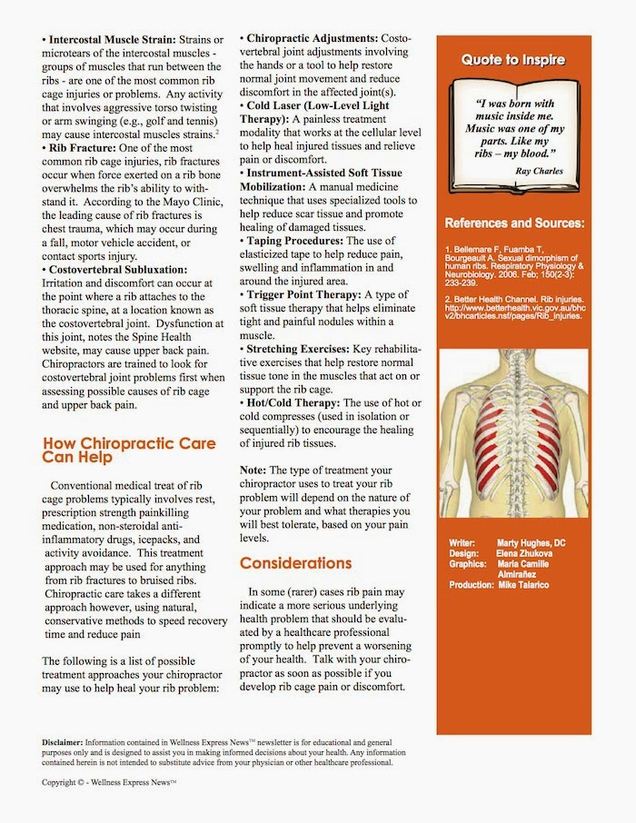 Weekly Newsletter, Ribs, Chiropractic Adjustments/Spinal Manipulation,