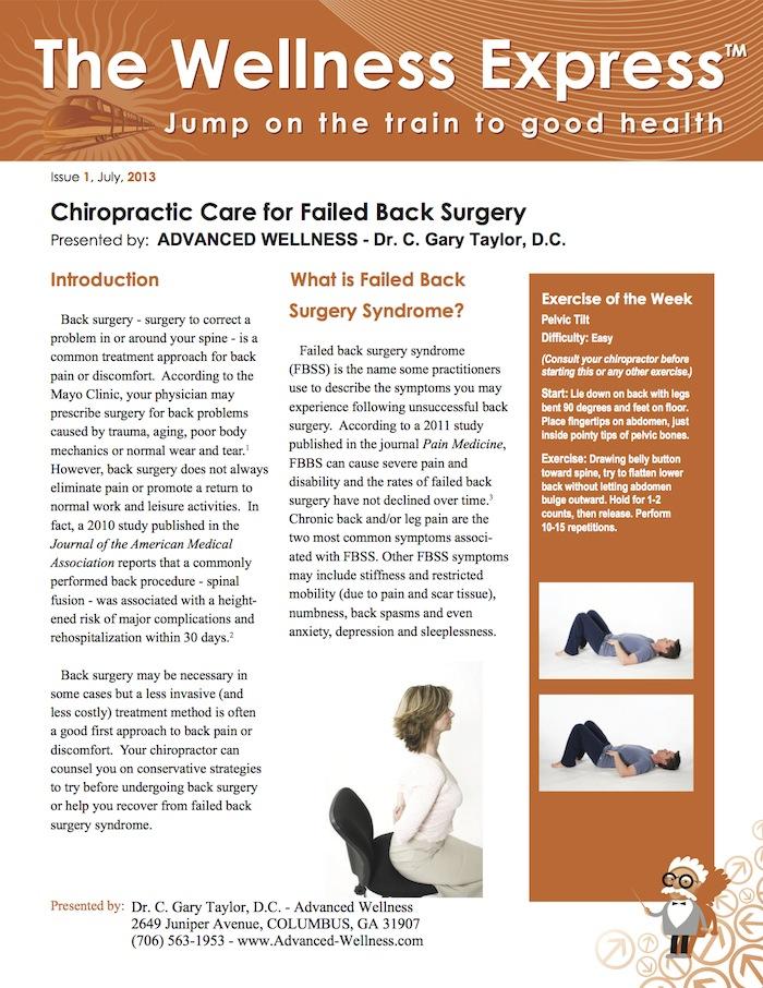 Alternatives to Surgery, Back Pain, Chiropractic Adjustments/Spinal Manipulation, Chronic Pain, Leg Pain, Rehabilitative Exercises, Weekly Newsletter,