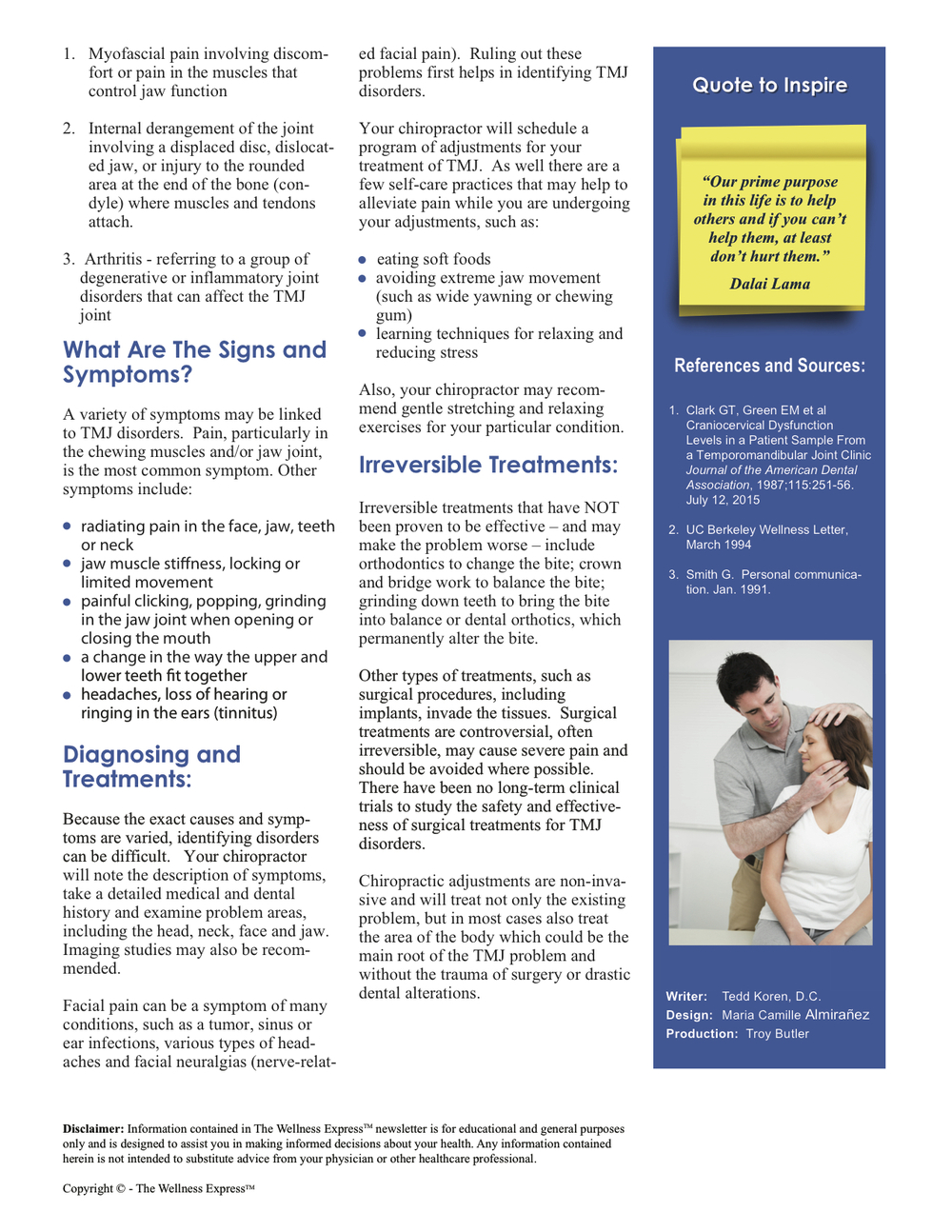 Weekly Newsletter: Temporo-Mandibular Joint Syndrome (TMJ Syndrome)