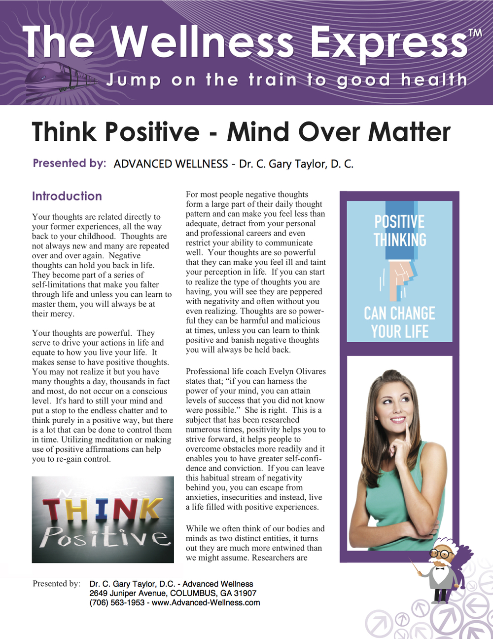 Think Positive – Mind Over Matter newsletter