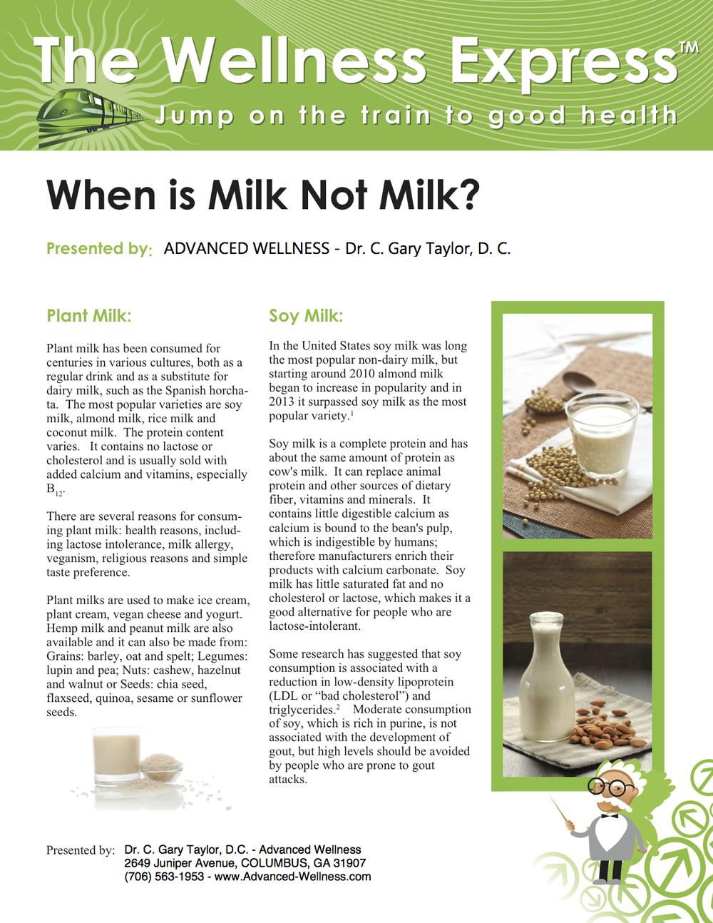 Weekly Newsletter: When Is Milk Not Milk?
