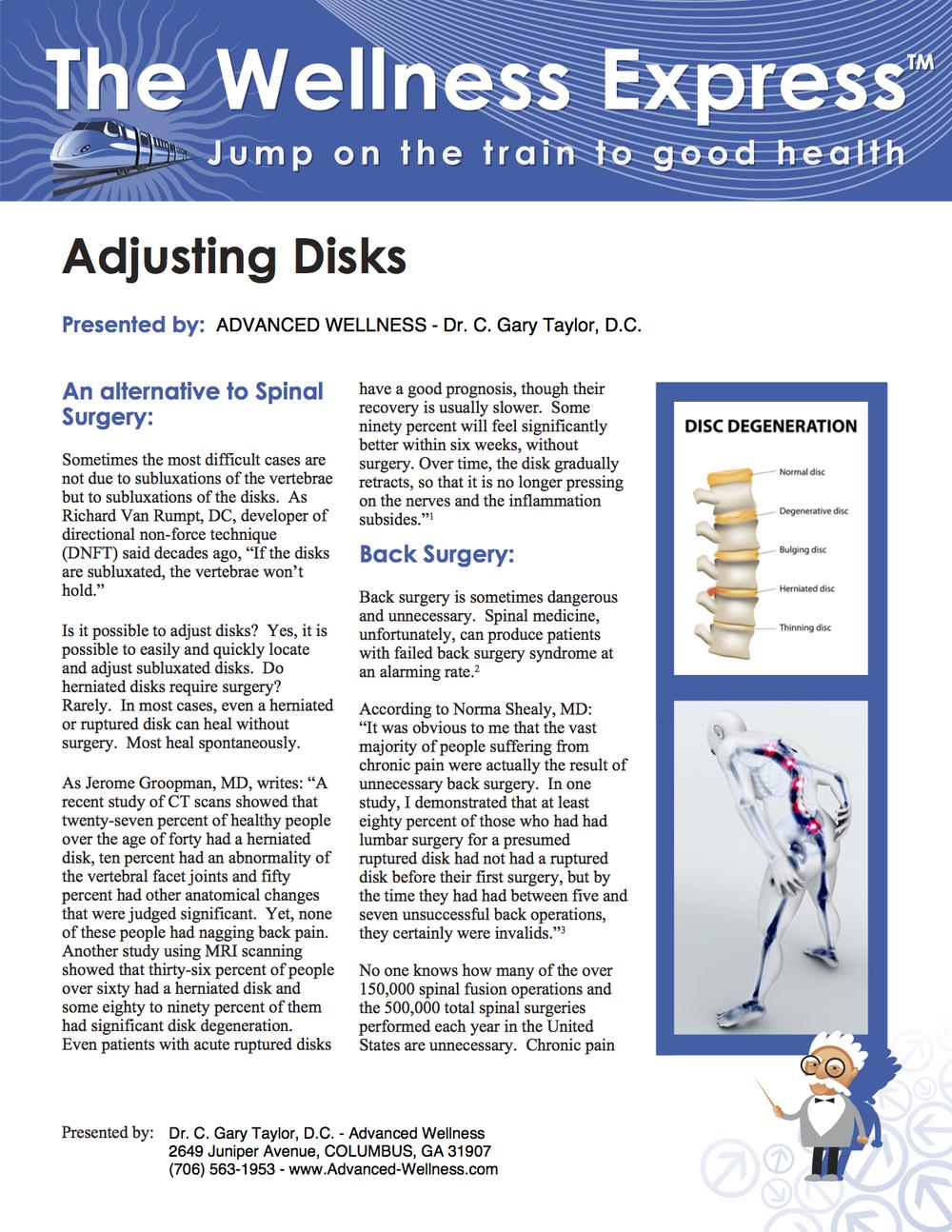 Weekly Newsletter: Adjusting Disks