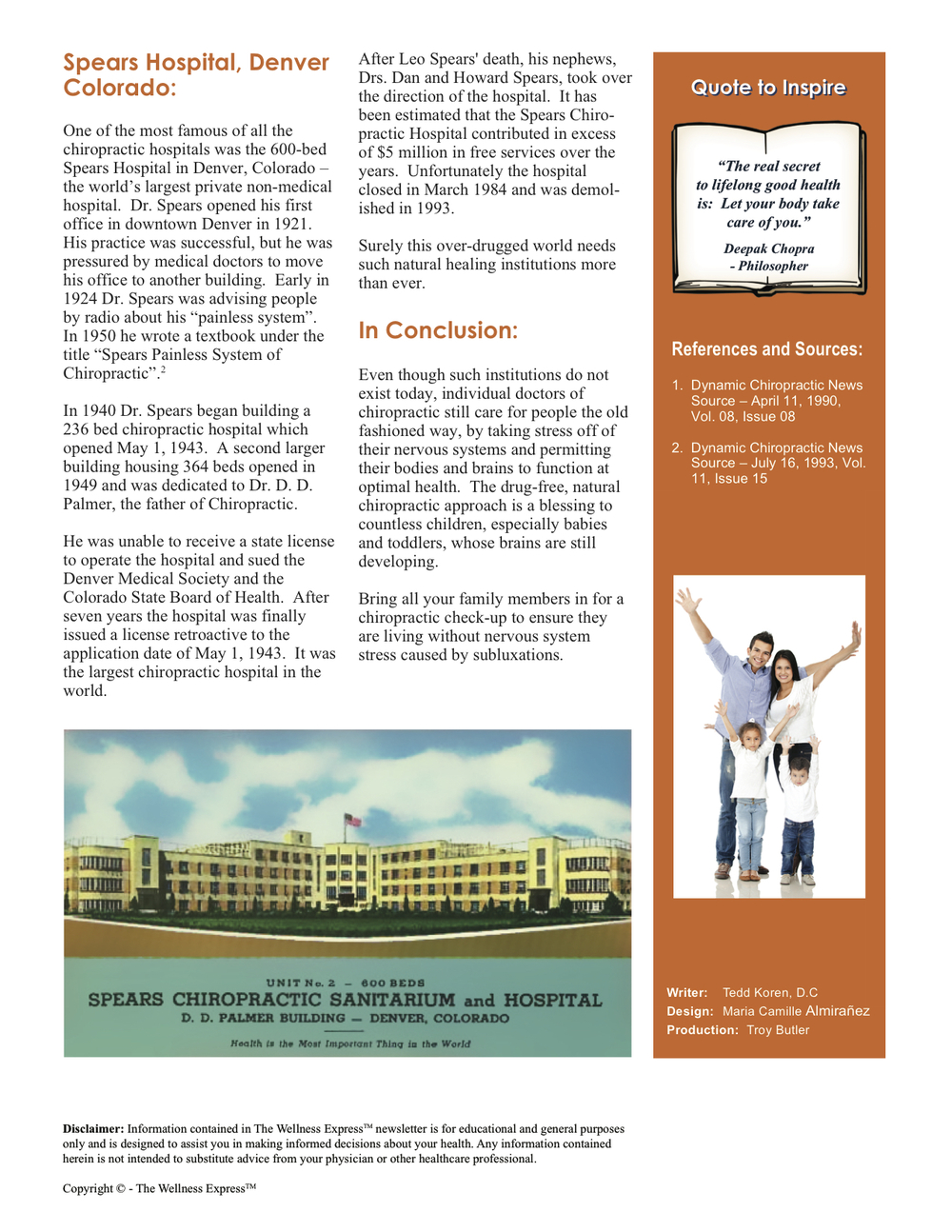 Weekly Newsletter: Did You Know Chiropractors Ran Hospitals?