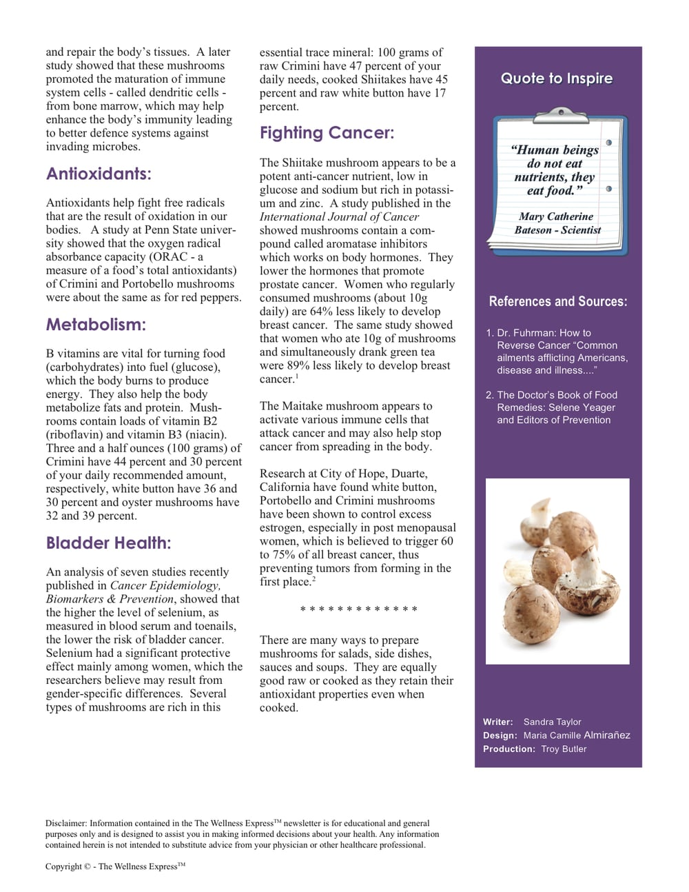 Weekly Newsletter: Healthy Mushrooms