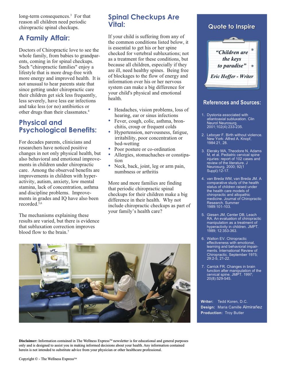 Weekly Newsletter: Healthier Children with Chiropractic