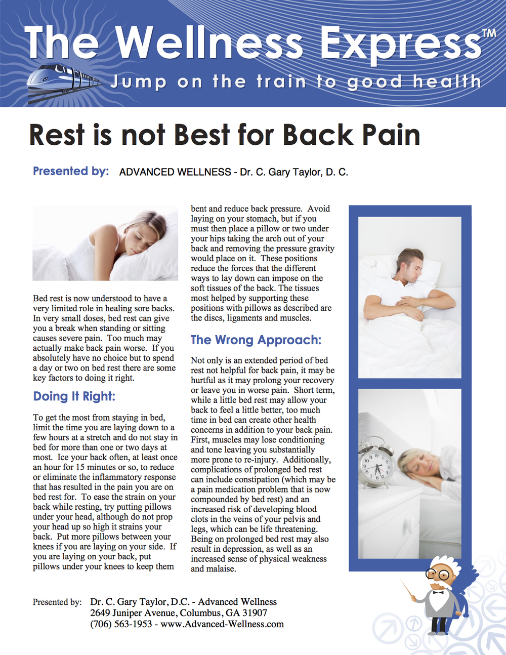 Weekly Newsletter: Rest Is Not Best for Back Pain
