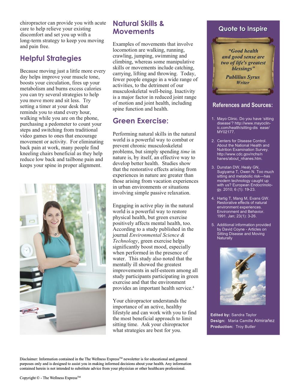 Weekly Newsletter: Sitting Disease vs. Movement
