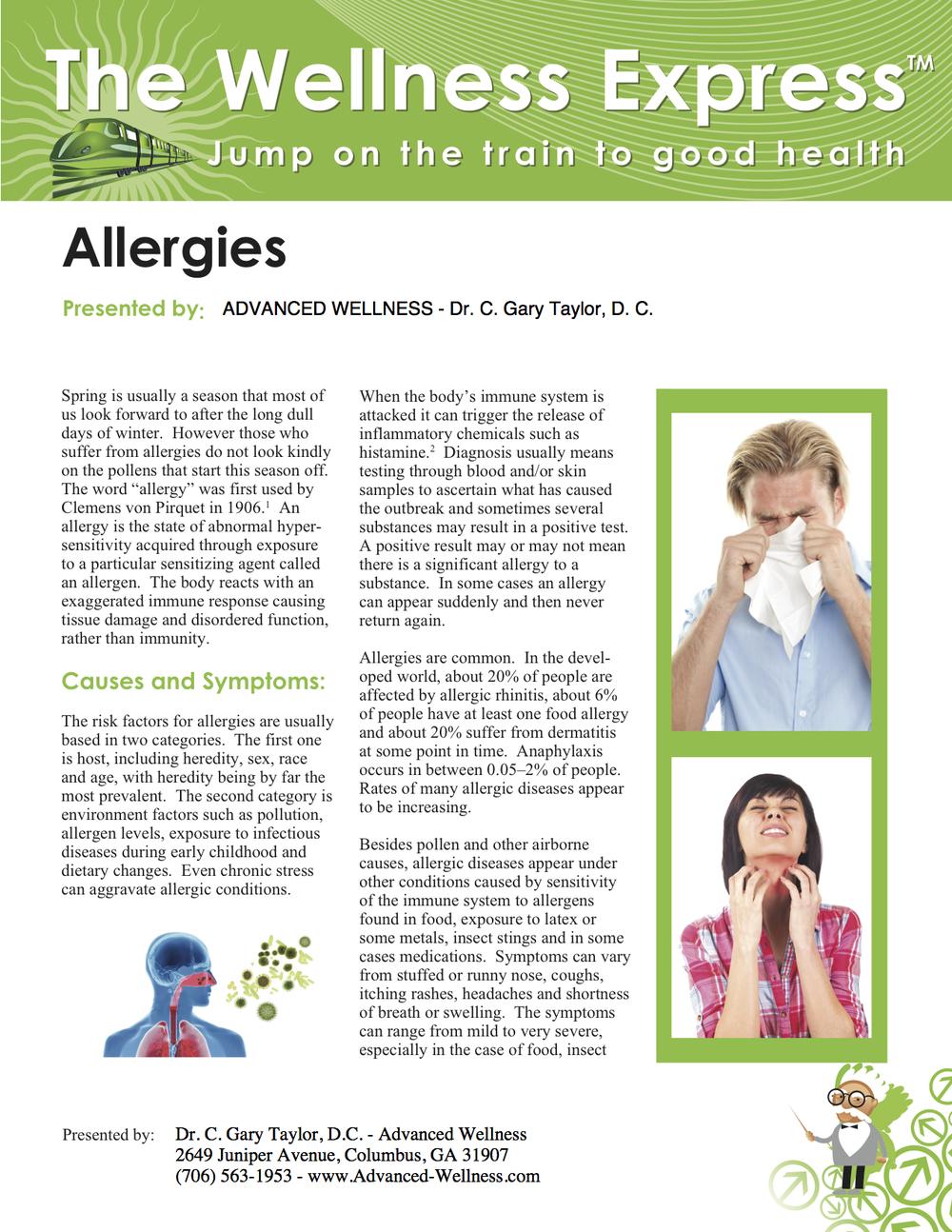 Weekly Newsletter: Allergies
