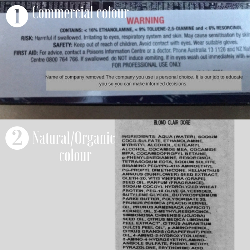 1, A commercial colour warning of the dangers and2, Natural/Organic Professional Hair Colour Product. - As you can see the top list contains 16% Ethanolamine 9% Toluene and 6% Resorcinol.The bottom contains 1% Cocamide MEA and 1,5% Ethanolamine