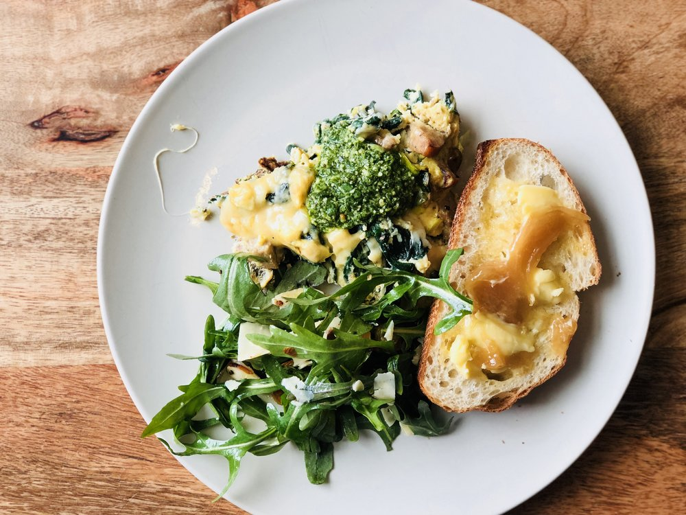 Frittata - Topped with arugula pesto.