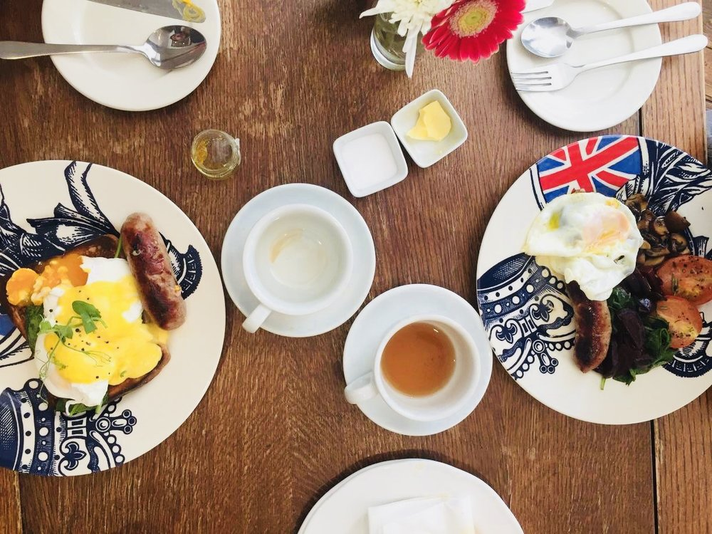 British Breakfast on British plates, July 4, 2017
