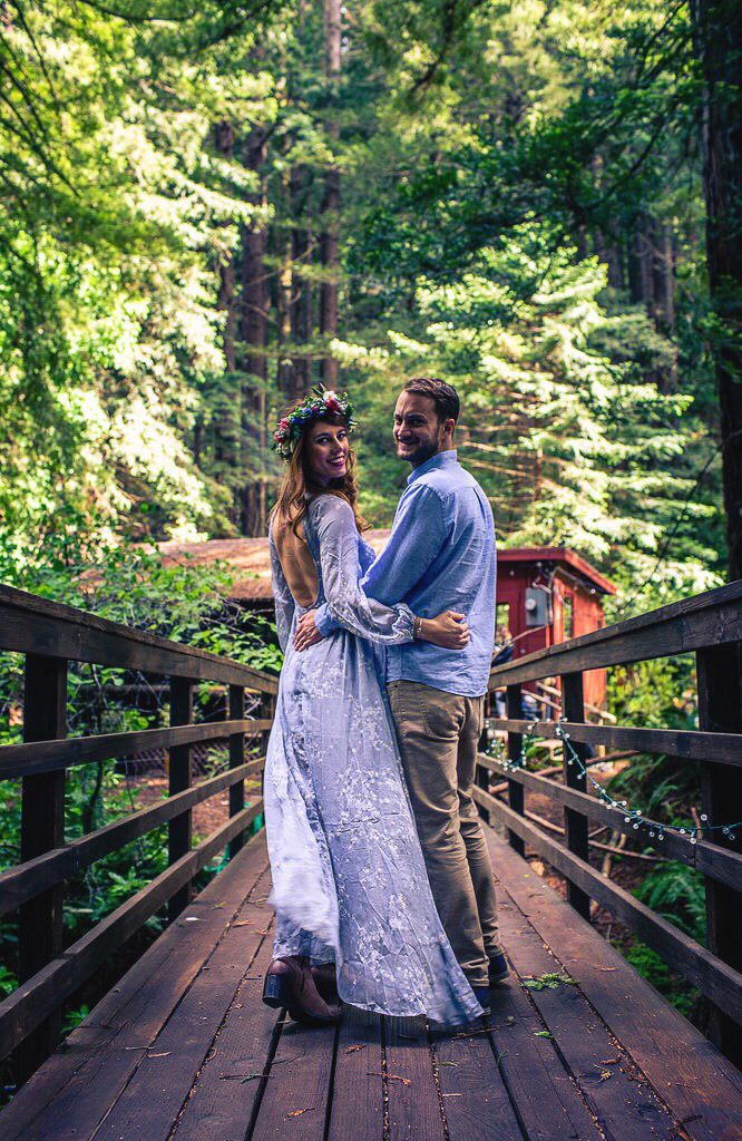 Paula and Greg celebrated at their cabin in the redwoods