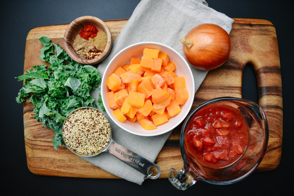 Butternut squash and tomato bisque ingredients