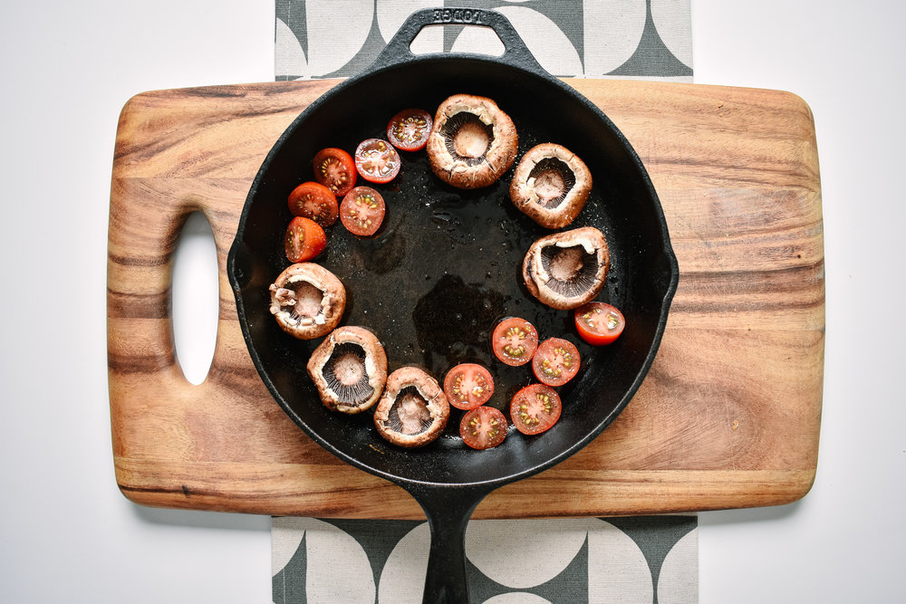 Mushrooms and tomatoes cook first