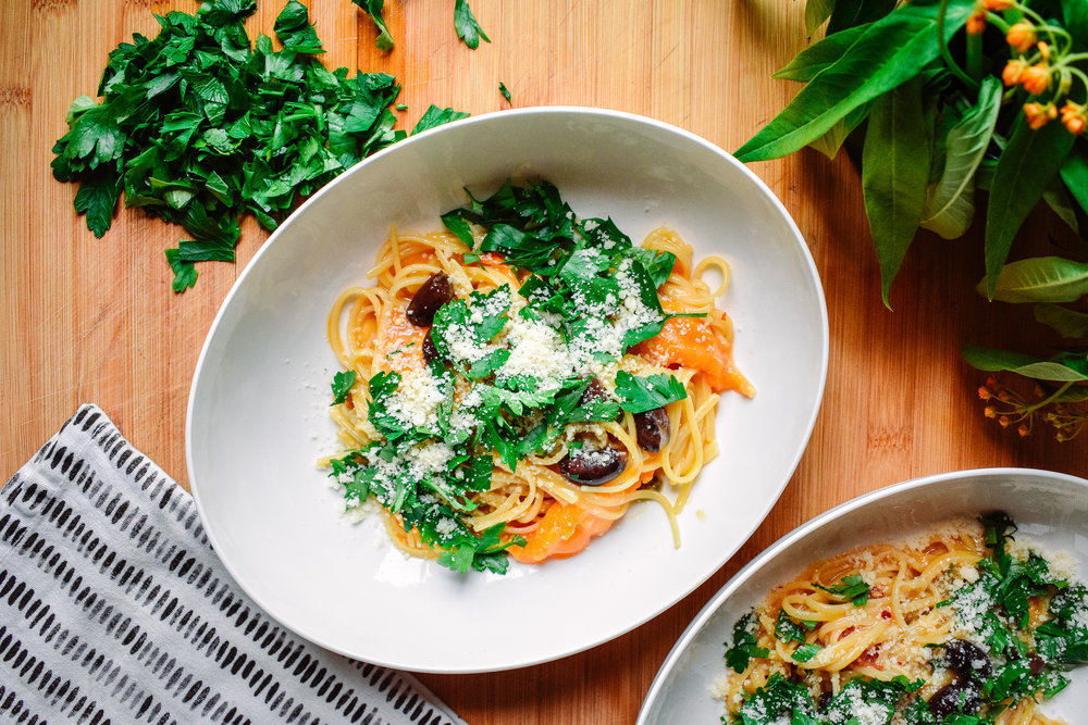 One-pot pasta puttanesca - Made in one pot and great for a crowd.