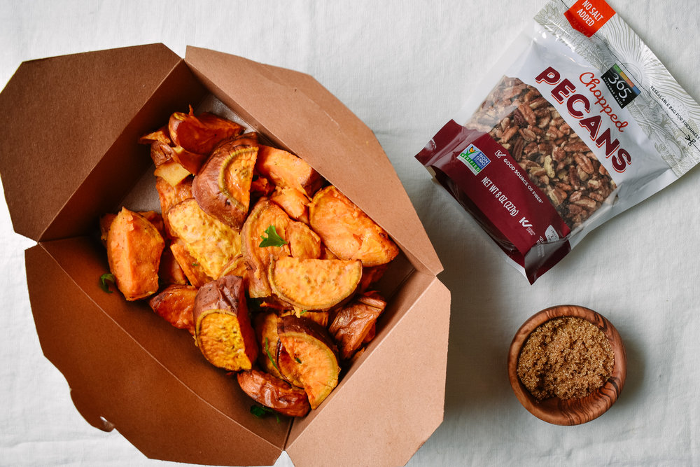 Roasted sweet potatoes with pecans and brown sugar