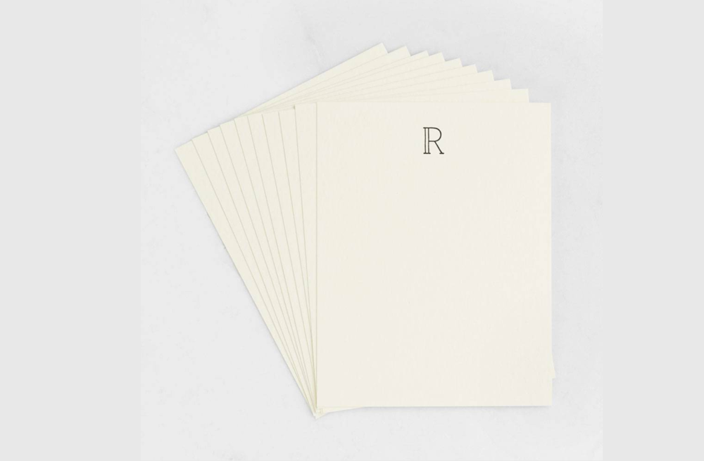 Monogrammed Stationary Set - Notecards with the first letter of their name on top is a classic design that will suit everyone's taste. Pro tip: include a sheet of stamps.