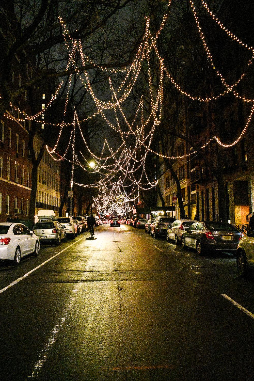 Hell's Kitchen New York City Christmas lights