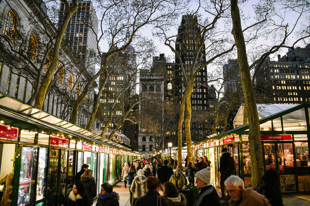 Bryant Park New York City Christmas lights
