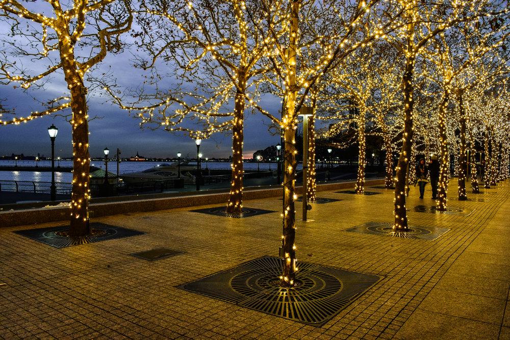 Hudson River, New York City Christmas lights