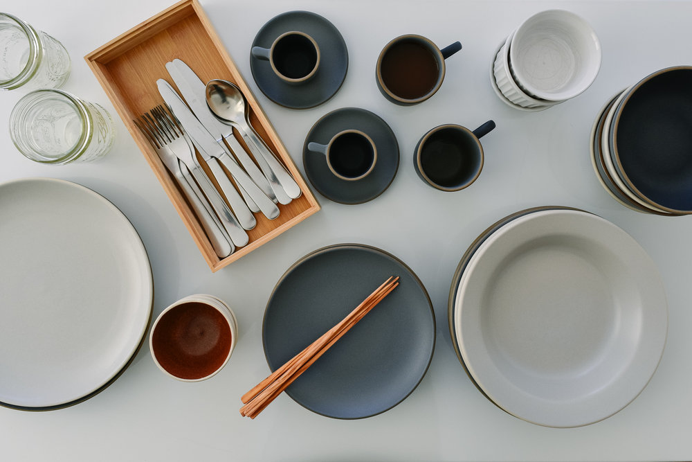 Heath Ceramics, Coupe Line Indigo Slate and Salt Shadow