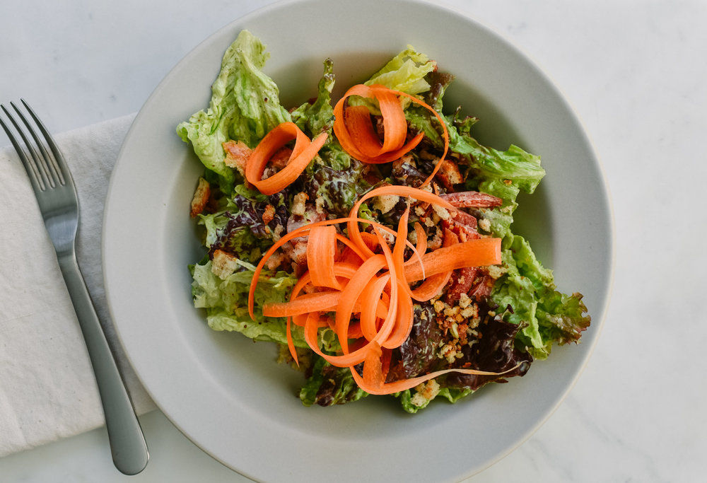 Green goddess salad with toasted breadcrumbs -