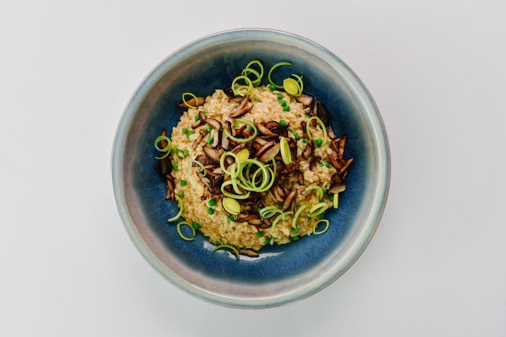 Leek and shiitake mushroom risotto -